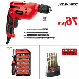 """76pc Toolman 3/8"""" Electric Power Drill Driver Corded  Screwd"""
