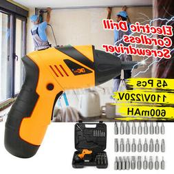 Electric Wireless Drill Driver Bits Set Battery & Recharger
