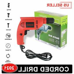 """Heavy Duty Electric Corded Impact Hammer Drill 3/8"""" Variable"""
